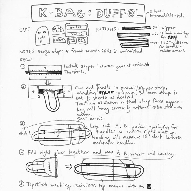 K Bag Duffel Instructions