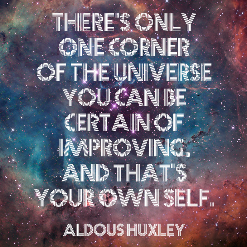 There's only one corner of the universe you can be certain of improving