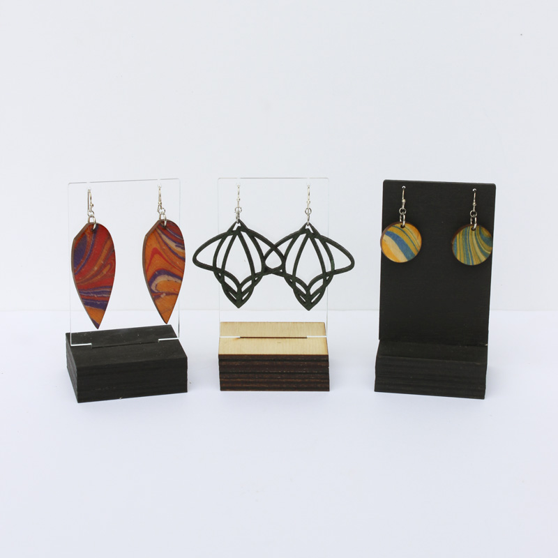 Wood and acrylic single earring displays