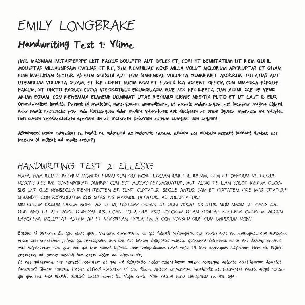 Handwriting Fonts Test Ellsig And Ylime Longbrake