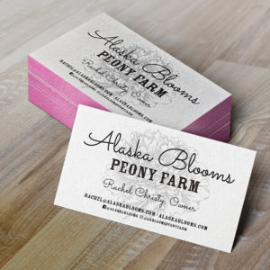 Alaska Blooms Letterpress Business Cards MockUp