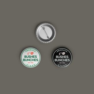 Bushes Bunches Pinback Button Mockup