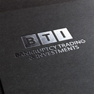 BTI Bankruptcy Trading & Investments Logo Design Silver Stamping Logo Mockup