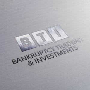 BTI Bankruptcy Trading & Investments Logo Design Metal Imprint Logo Mockup
